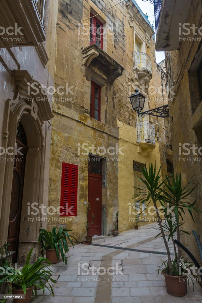 Traditional maltese houses with colorful doors and shutters, Vittoriosa, Malta stock photo