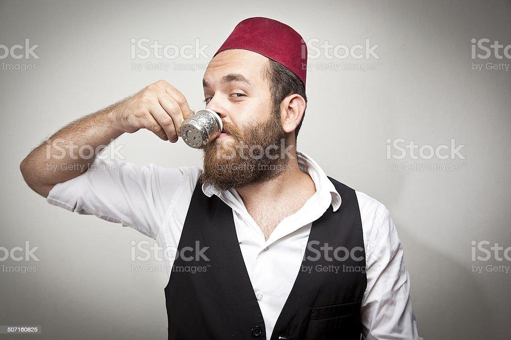 Traditional Man Turkish Hat And Dress Kabadayi Drinking Turkish