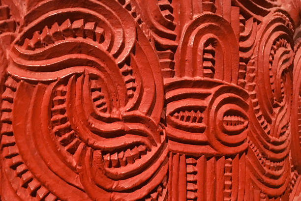 traditional maori artwork - maori stock photos and pictures