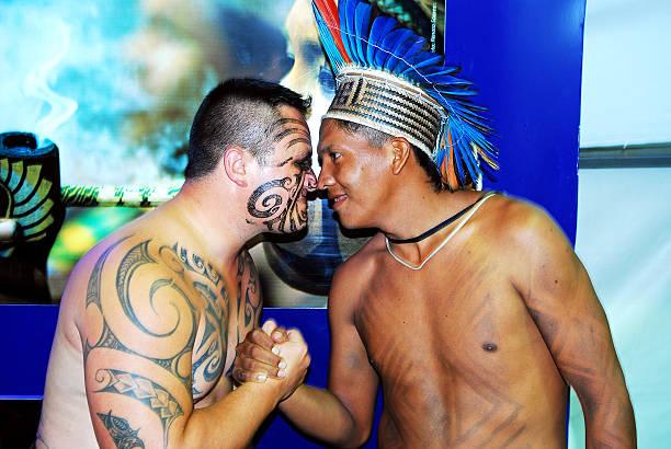 Traditional Maori New Zealand greeting. stock photo