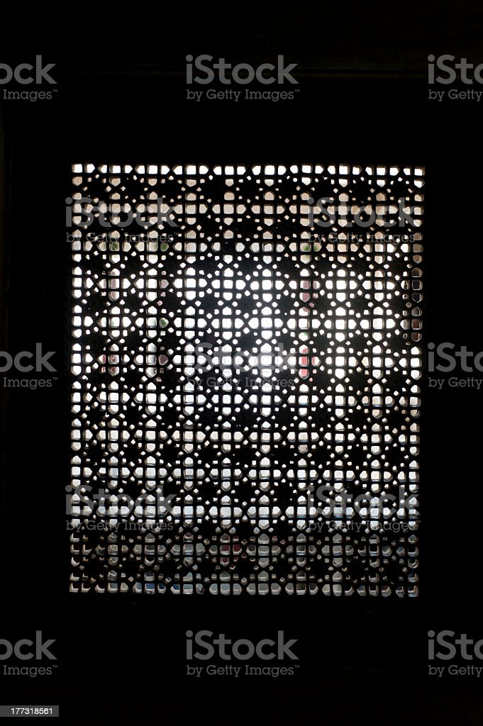 Traditional  marble window detail from Udaipur, Rajasthan, India royalty-free stock photo