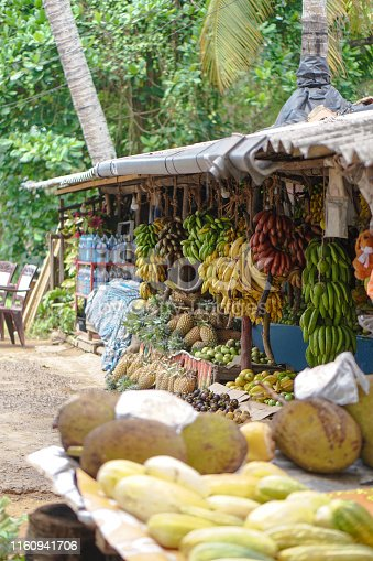 Traditional market in Asia with a variety of fruits and vegetables from farms and jungles. Sales business background in Sri Lanka. Stock photo
