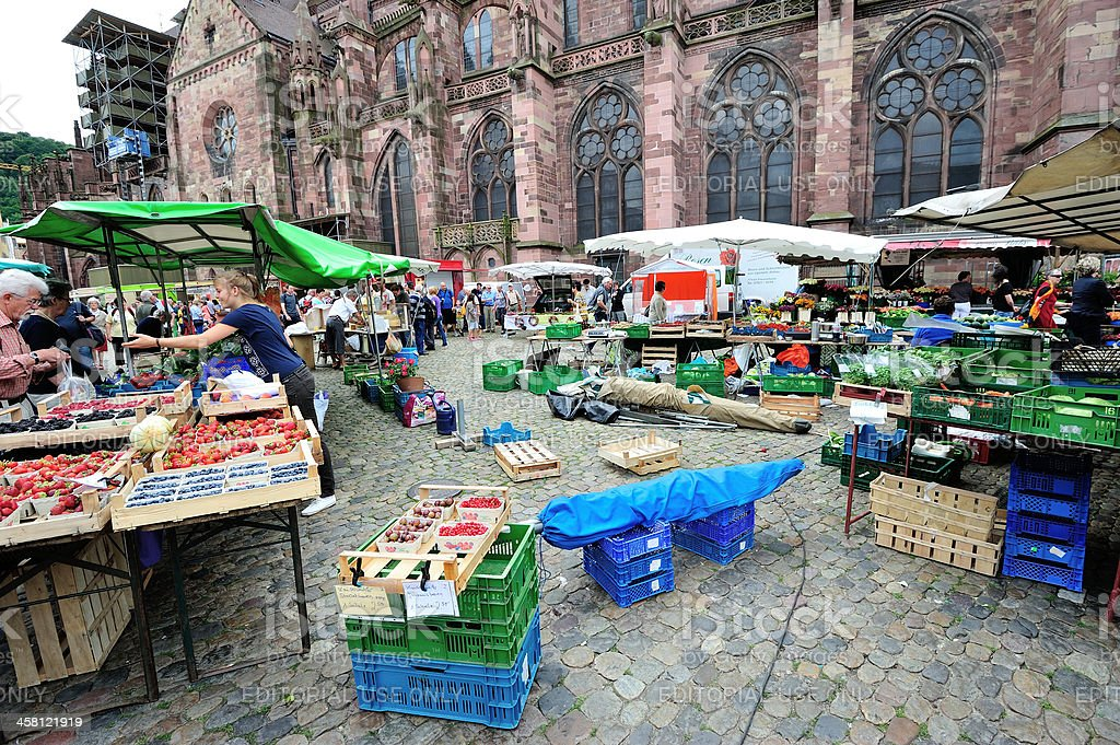 Traditional Market in Freiburg royalty-free stock photo