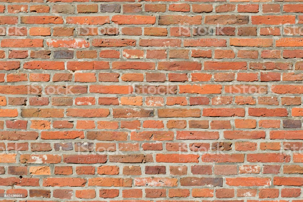 Traditional masonry in the so-called standing brick bond with smoothed pointing stock photo