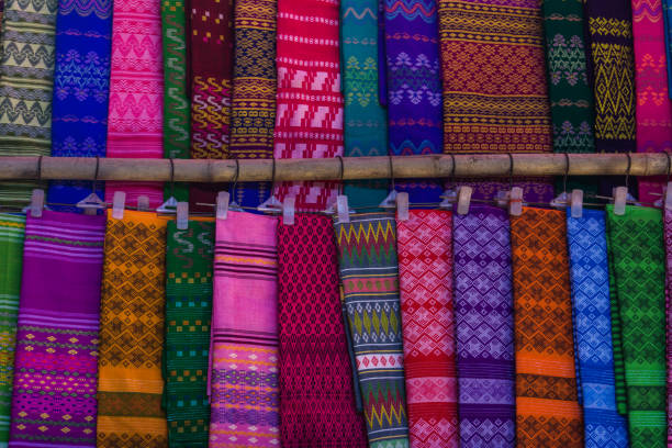 traditional material for longyi stock photo