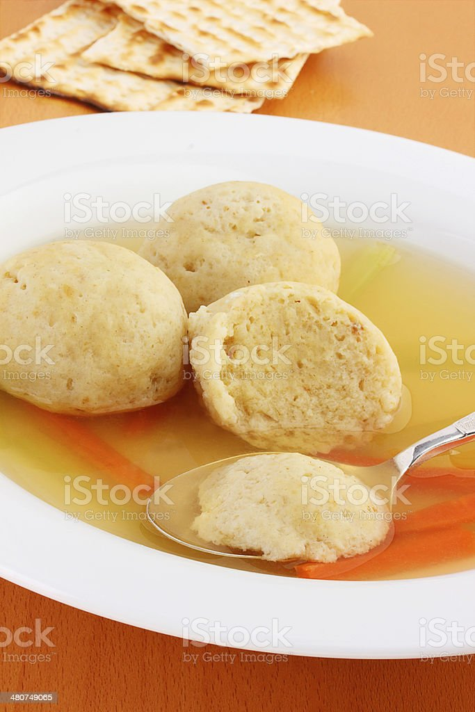 Traditional matzo ball soup royalty-free stock photo
