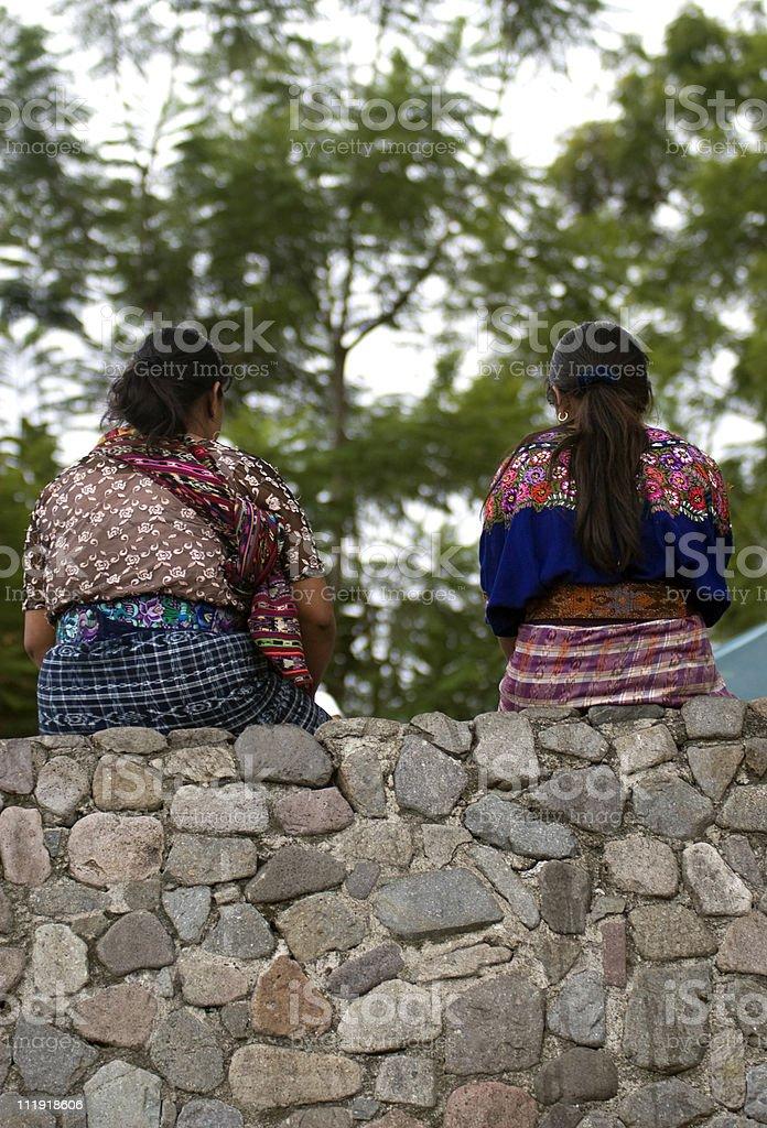 Traditional Maya on wall, Guatemala stock photo