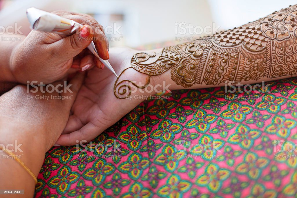 Traditional Mehndi Tattoo for a Indian Bridal Celebration stock photo