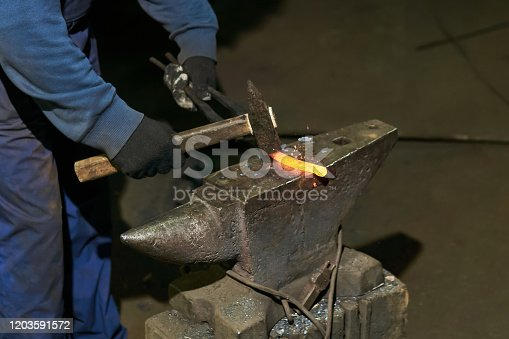 istock traditional metal forging in a forge 1203591572