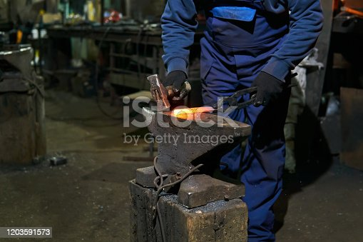 istock traditional metal forging in a forge 1203591573
