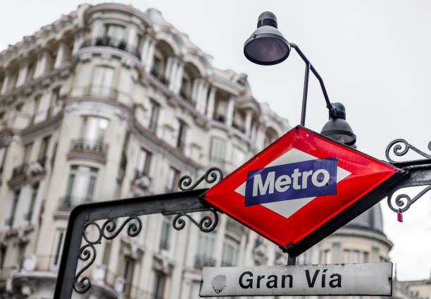 Traditional metro sign for the Gran Via station in city center shopping area, selective color treatment in Madrid, Spain stock photo