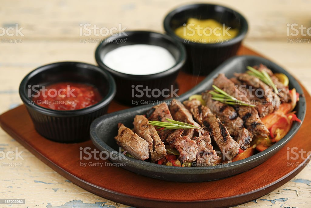 Traditional mexican beef fajitas royalty-free stock photo