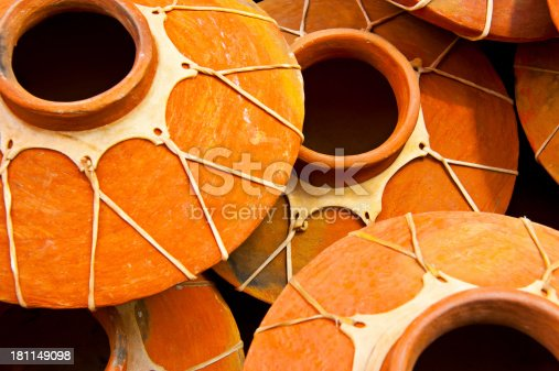 Traditional Mexican ceramic pots in an outdoor market.