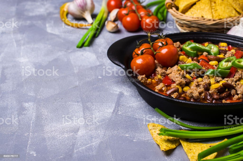 Traditional Mexican chili concarne stock photo
