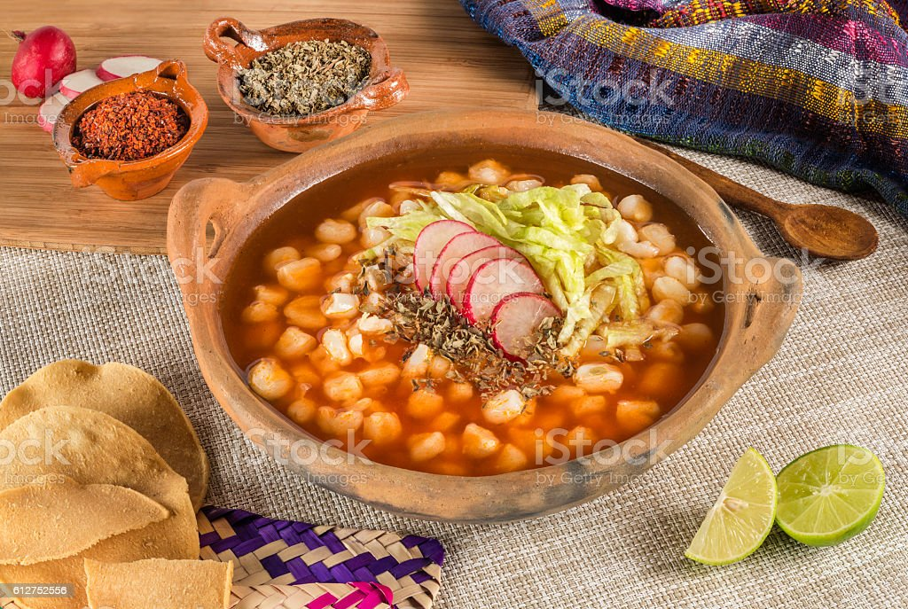 Traditional Mexican corn soup. stock photo