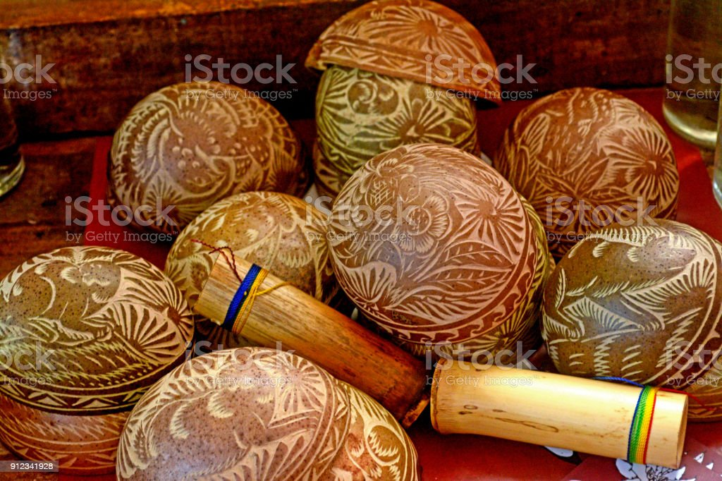 Traditional mexican craved jícaras for drinking mezcal, hot cocoa or coffee from Oaxaca state stock photo