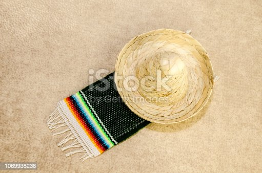 istock Traditional mexican hat and sarape miniatures 1069938236