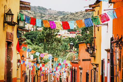 traditional mexican paper for decoration in streets in Mexico