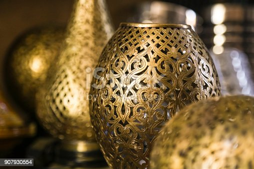 Traditional metal lamps in a market in Morocco.