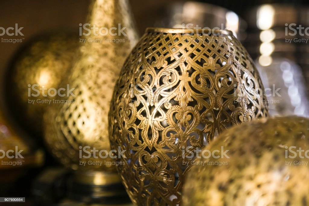 Traditional Middle Eastern lamps stock photo