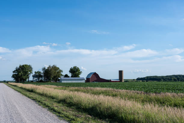 traditional midwestern farm - rural scene stock pictures, royalty-free photos & images