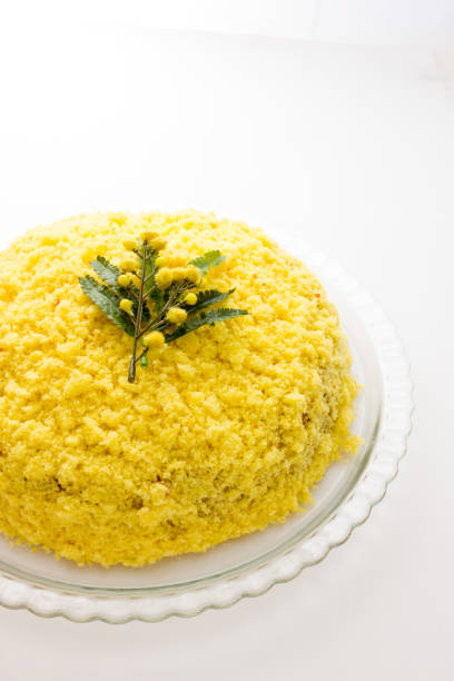 traditional mimosa cake for mother's day - mimosa cake foto e immagini stock