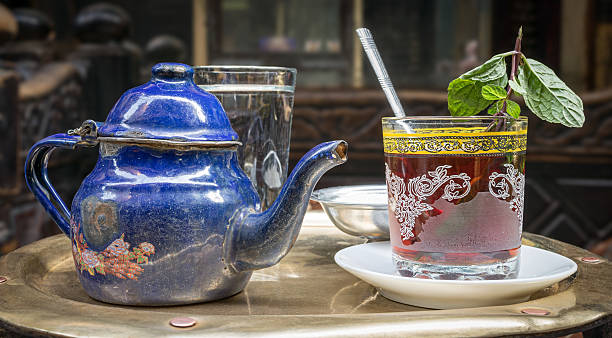 Traditional mint tea set on copper table, Cairo, Egypt stock photo
