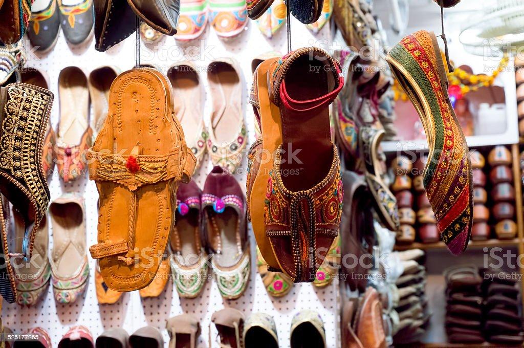 Traditional mojari shoes of varied designs stock photo