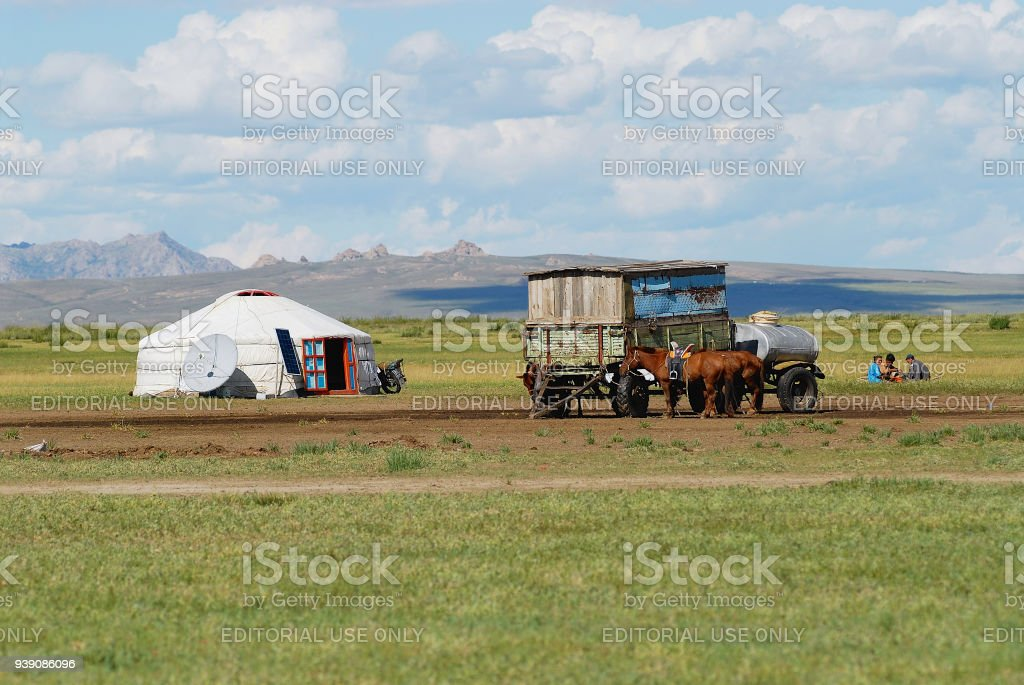 Traditional Mongolian yurt in steppe circa Kharhorin, Mongolia. stock photo