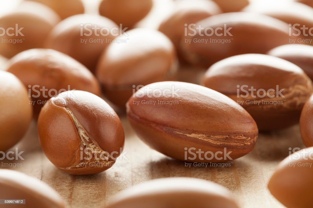 Traditional Moroccan argan nuts stock photo