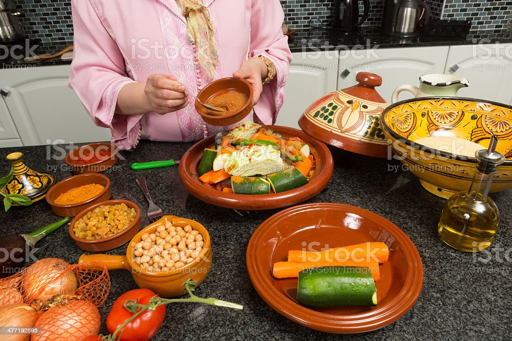 Traditional Moroccan cooking stock photo