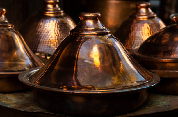 Traditional moroccan copper brass tagine (tajine). stock photo