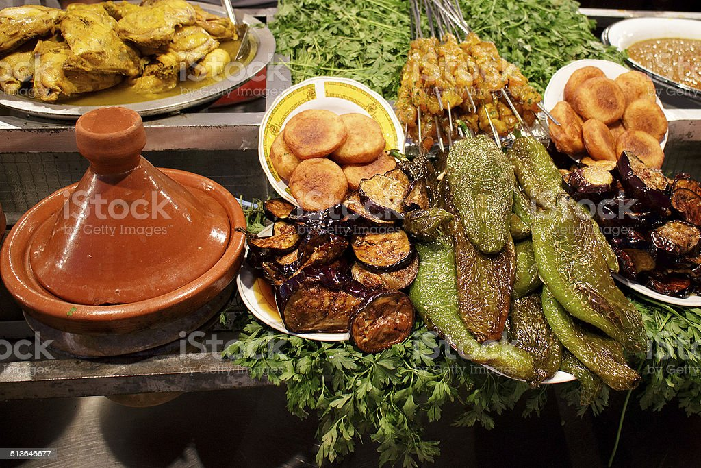 Traditional moroccan dish at night market stall in Marrakesh stock photo