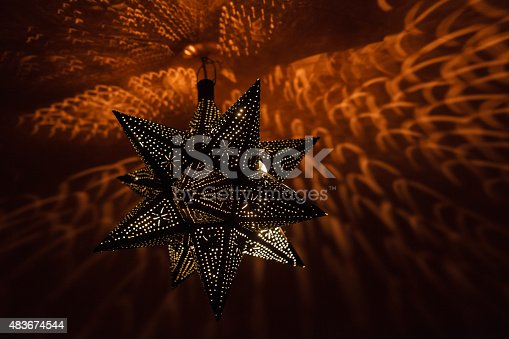 Traditional Moroccan Lamp Illuminating The Ceiling Stock Photo & More Pictures of 2015