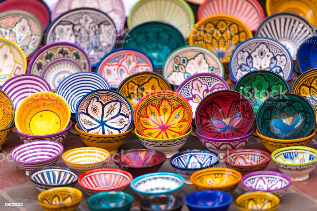 Traditional Moroccan market with souvenirs stock photo