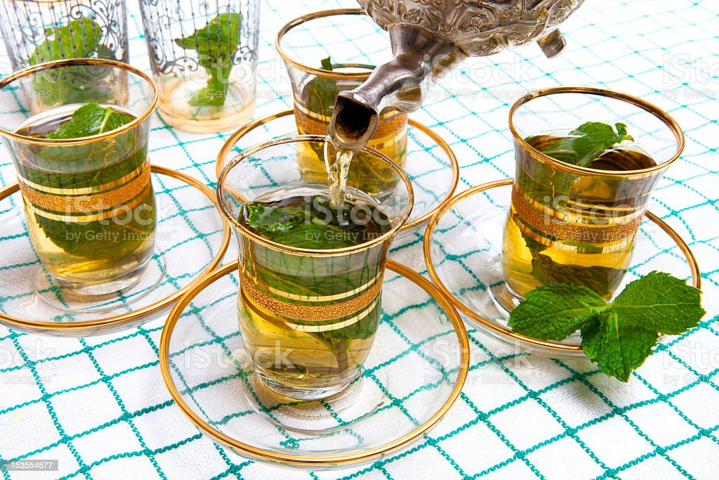 Traditional Moroccan mint tea stock photo
