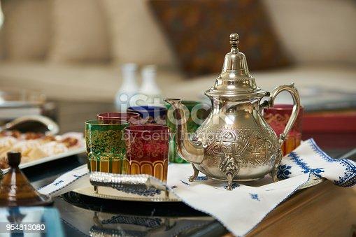 1189561410 istock photo Traditional Moroccan tea with Ramadan cookies 954813080