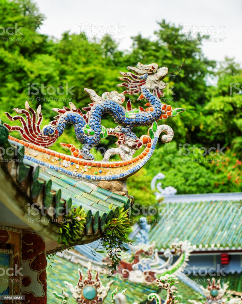 Traditional mosaic dragon on roof of the Linh Ung Pagoda royalty-free stock photo