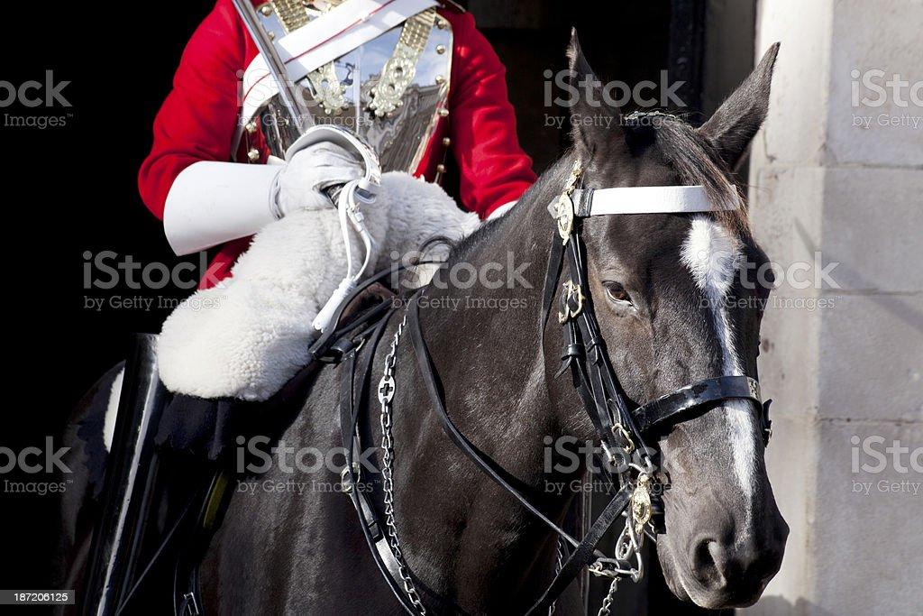 Traditional mounted guardsman royalty-free stock photo