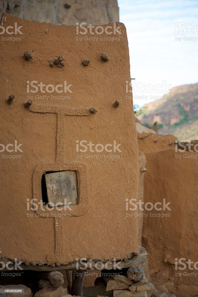 Traditional Mud Brick Dogon Country homes, Mali stock photo