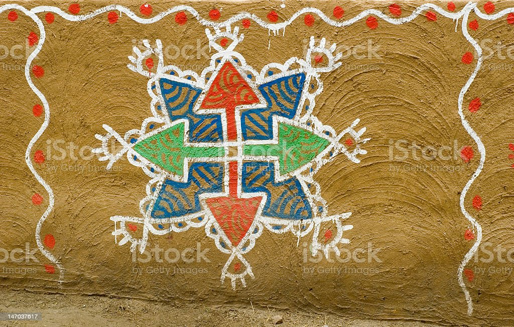 Traditional mud wall painting royalty-free stock photo