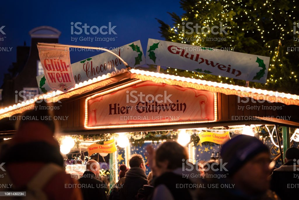 Mulled Wine Christmas Market.Traditional Mulled Wine Drink Stand At A Christmas Market
