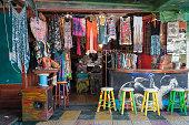 Matala, Crete, Greece - June 28, 2016: Traditional multi-colour hippie shop at Matala town on Crete island.