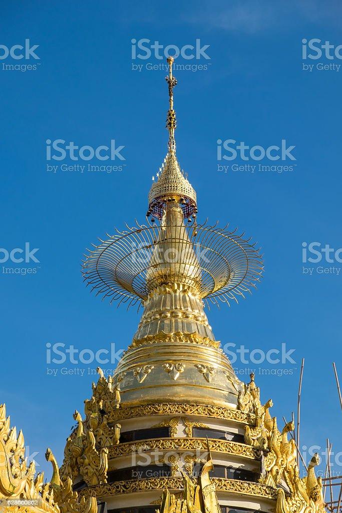 Traditional Myanmar style top of pagoda, Yangon city, Myanmar stock photo