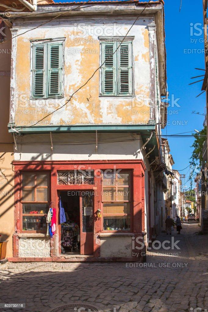 Traditional narrow streets with greek style houses at summer town ayvalik  balikesir turkey royalty-free
