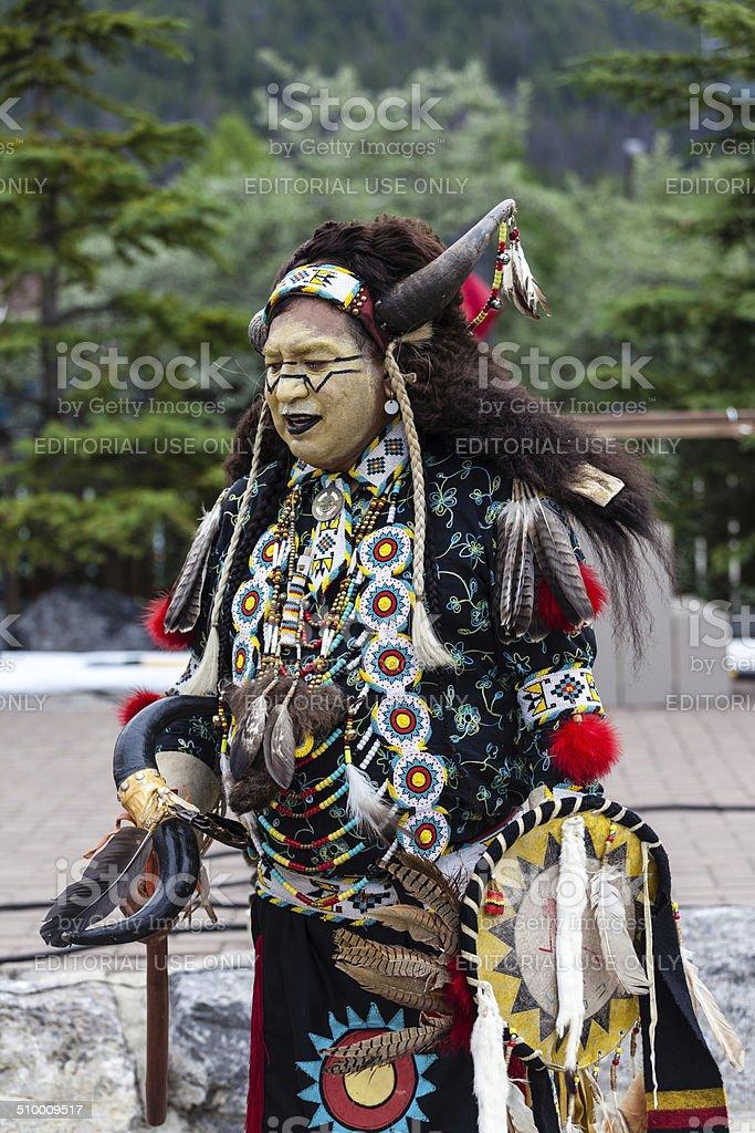 Traditional Native Blackfoot Chief stock photo