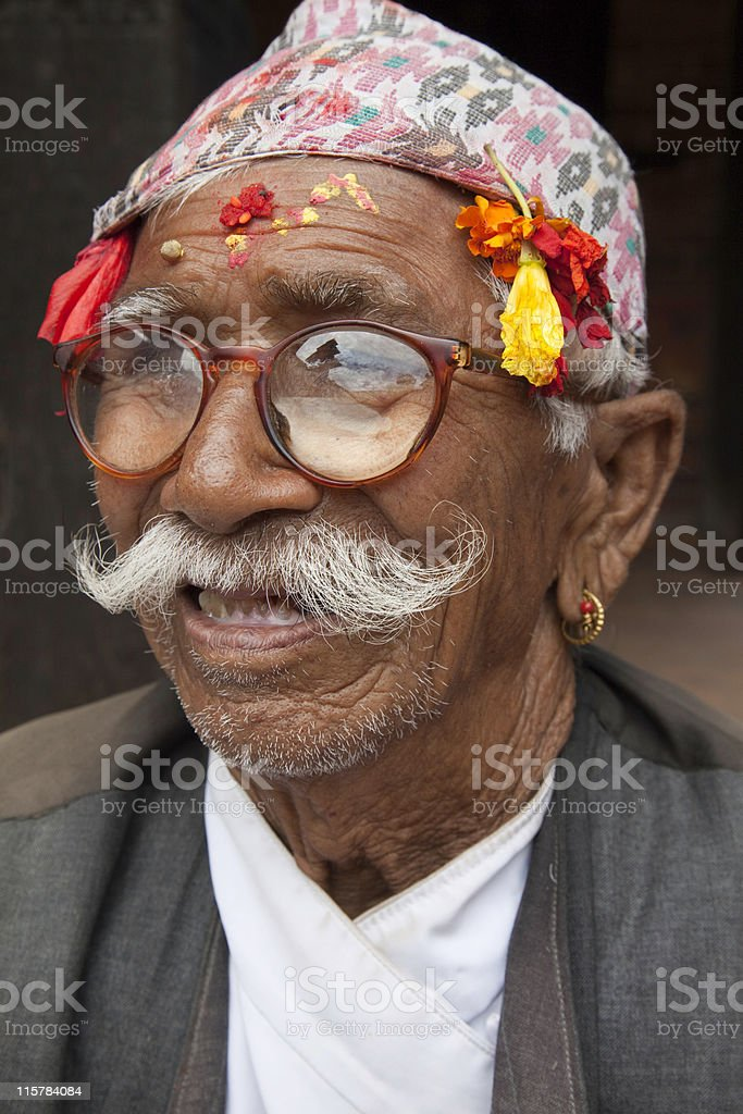 Traditional Nepali old man royalty-free stock photo