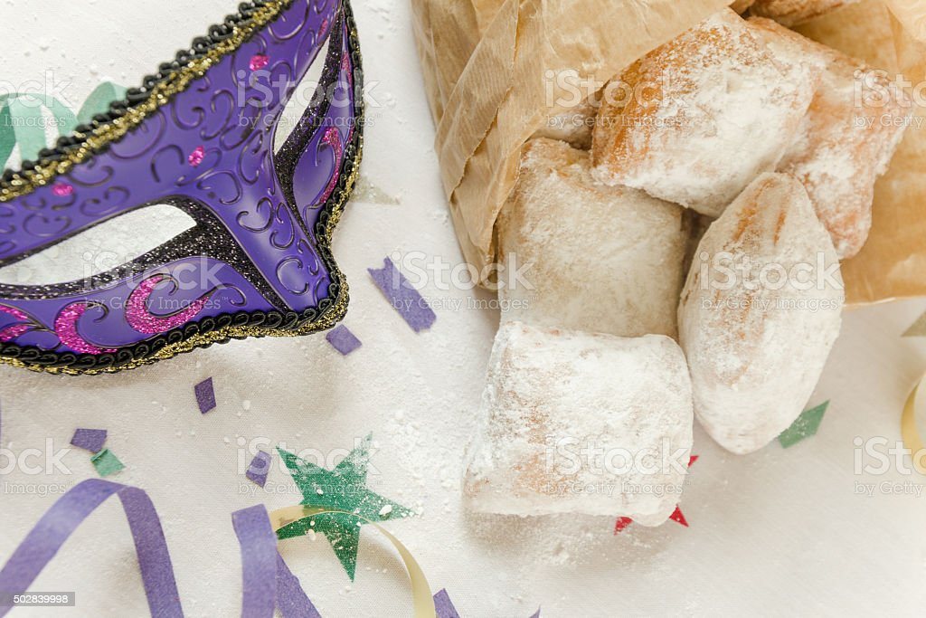 Traditional New Orleans beignets served for Mardi Gras stock photo