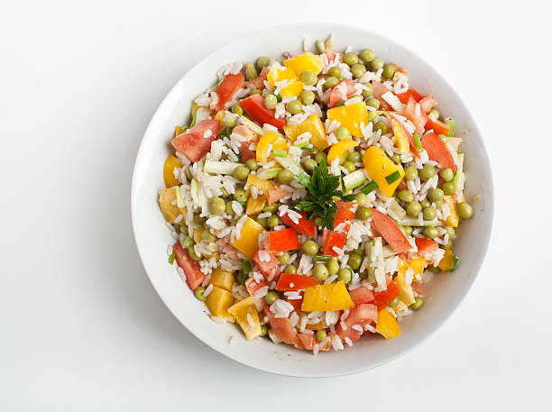 traditional new year's rice salad stock photo