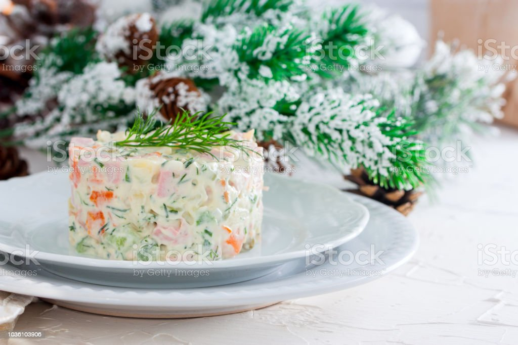 Traditional New Year\'s salad Russian and Ukrainian - Russian salad on...
